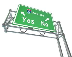 Ja eller nej skilt. Hvad vælger du, stilstand eller udvikling?